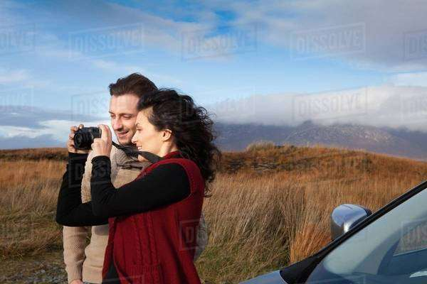 Couple sightseeing at countryside, Connemara, Ireland Royalty-free stock photo