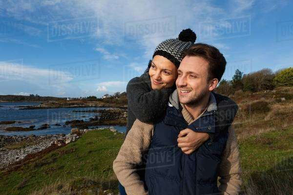 Couple by the coast, Connemara, Ireland Royalty-free stock photo