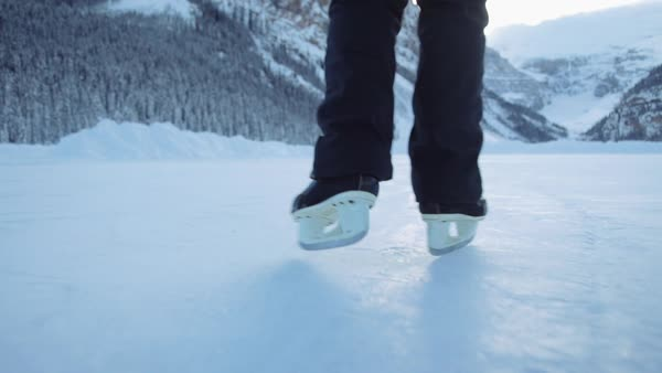 Close-up shot of a person skating on ice Royalty-free stock video