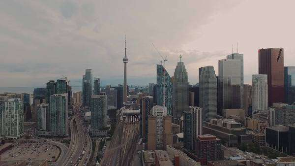 Aerial views of downtown Toronto, Ontario, Canada, zoom out Royalty-free stock video