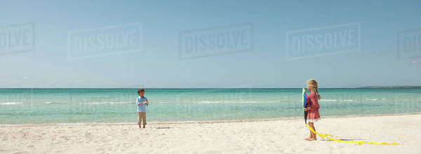 Children playing with kite at the beach Royalty-free stock photo