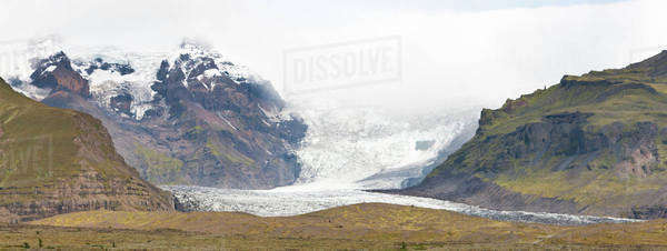 Iceland, panoramic view of mountains and glacier Royalty-free stock photo