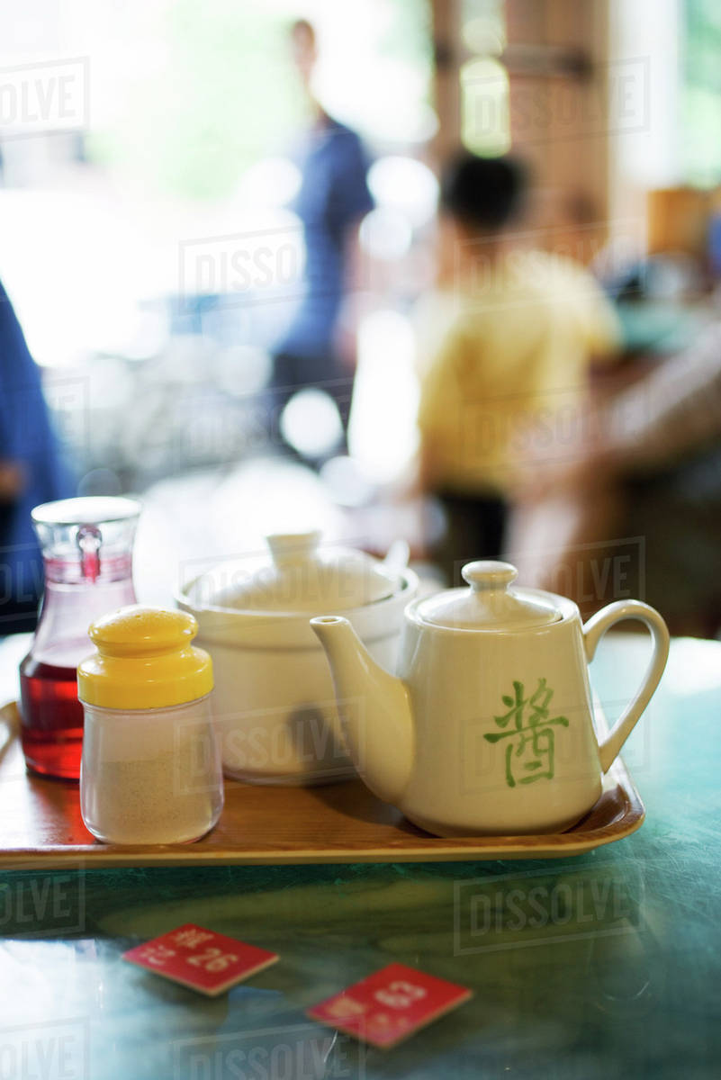 Tray With Tea Service And Table Markers On Table In Restaurant - Restaurant table markers