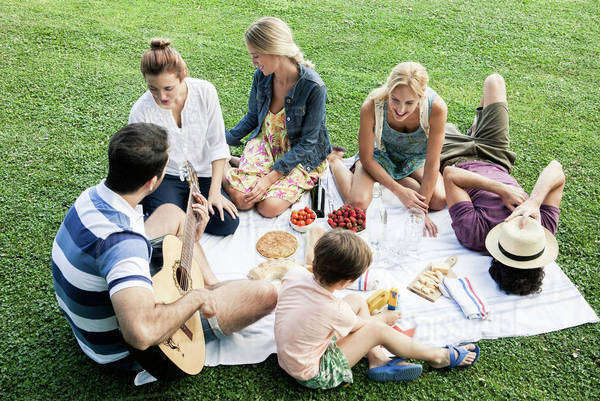 Summer picnic in the park with family and friends Royalty-free stock photo