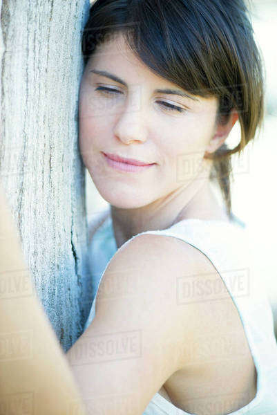 785a4283d85fe6 Woman hugging tree Royalty-free stock photo