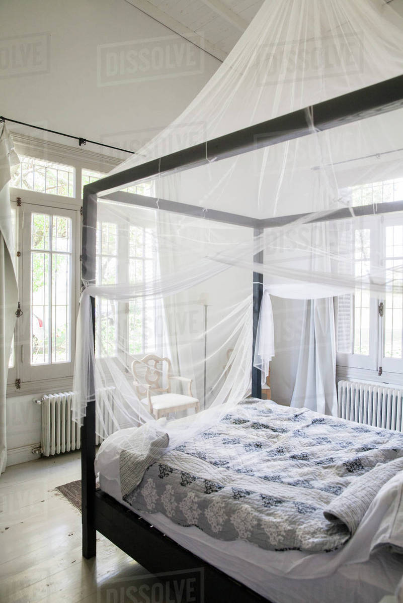 Canopy bed with mosquito netting & Canopy bed with mosquito netting - Stock Photo - Dissolve