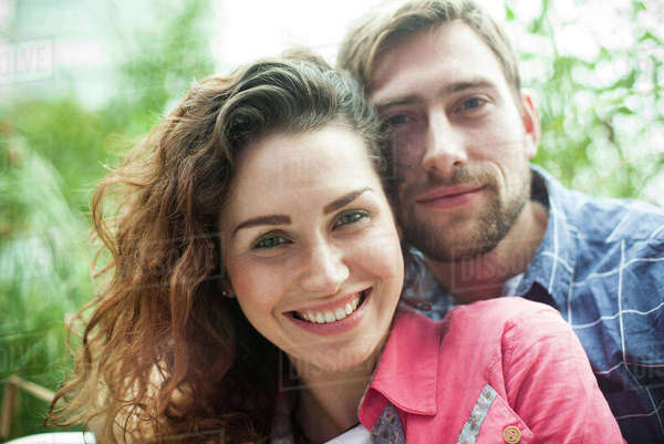 Couple together outdoors, portrait Royalty-free stock photo