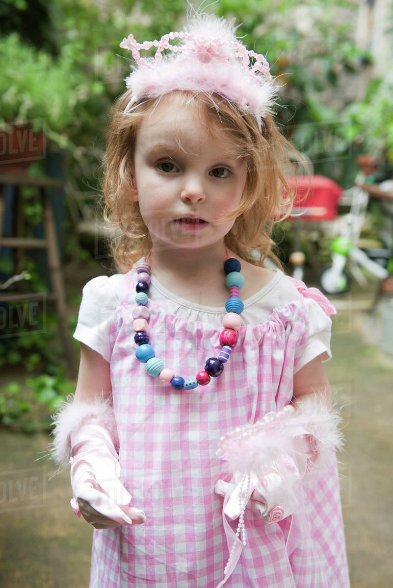 Little girl dressed up in costume, portrait Royalty-free stock photo