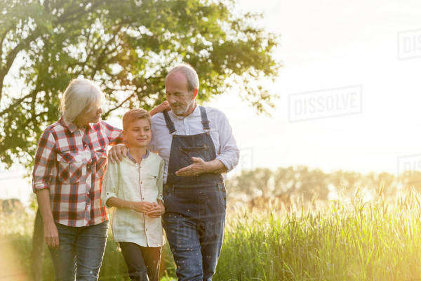 Grandparent farmers and grandson walking along rural wheat field Royalty-free stock photo