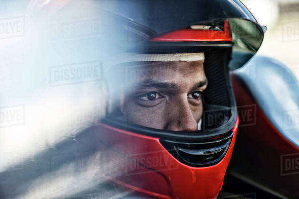 Racer sitting in car Royalty-free stock photo