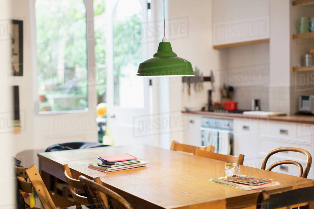 Pendant Light Hanging Over Dining Table