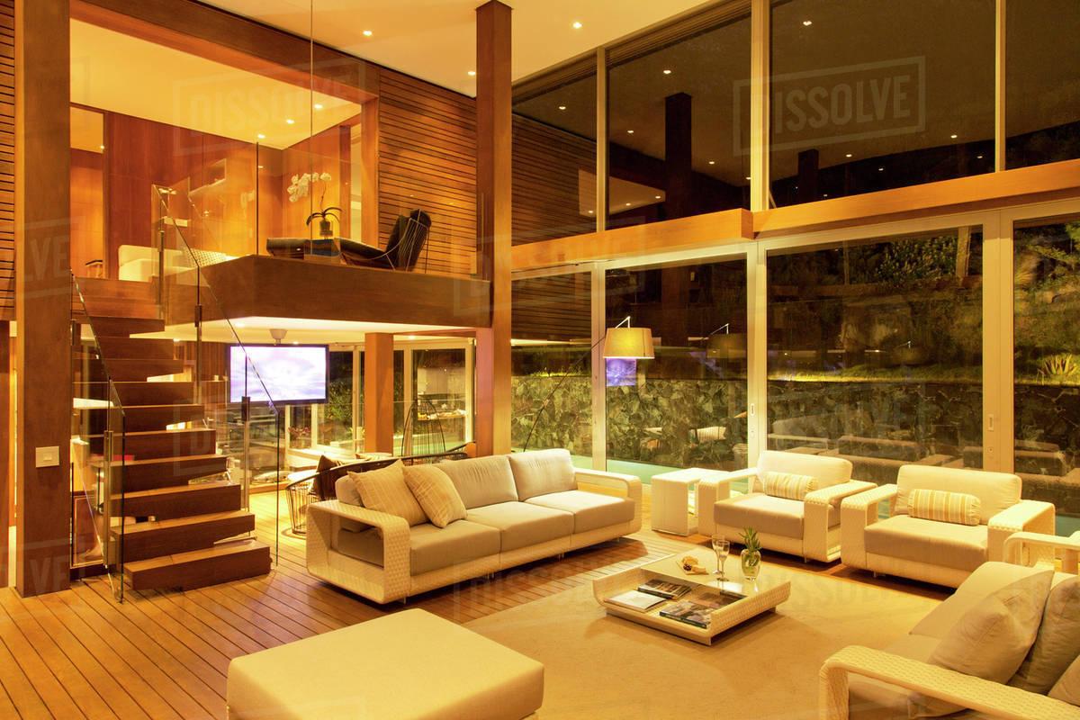 Charming Illuminated Modern Living Room At Night