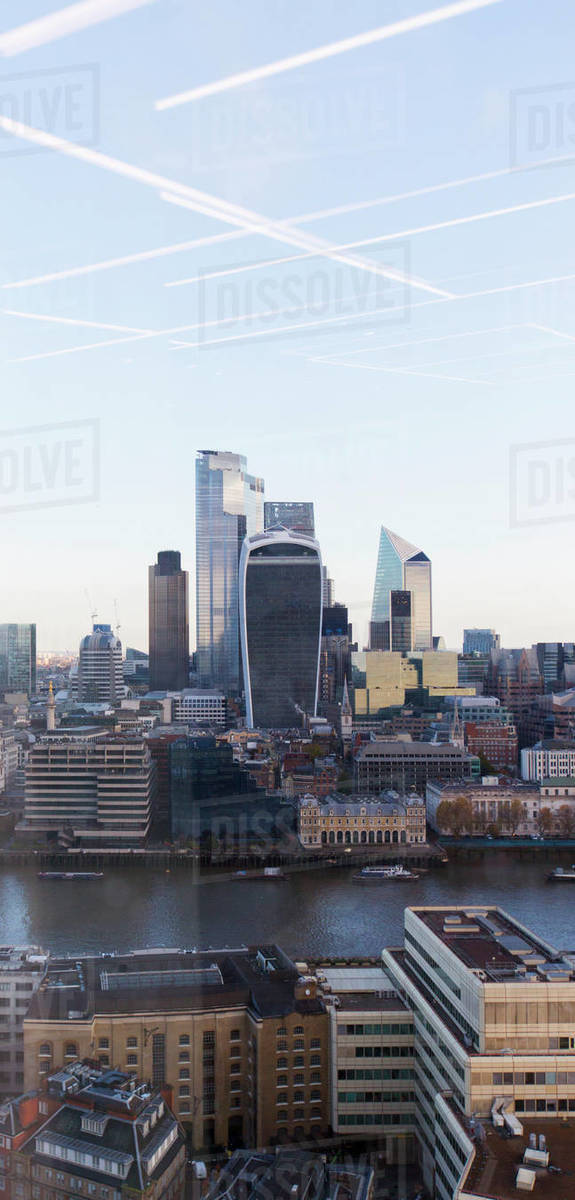 Cityscape view highrise buildings, London, UK Royalty-free stock photo