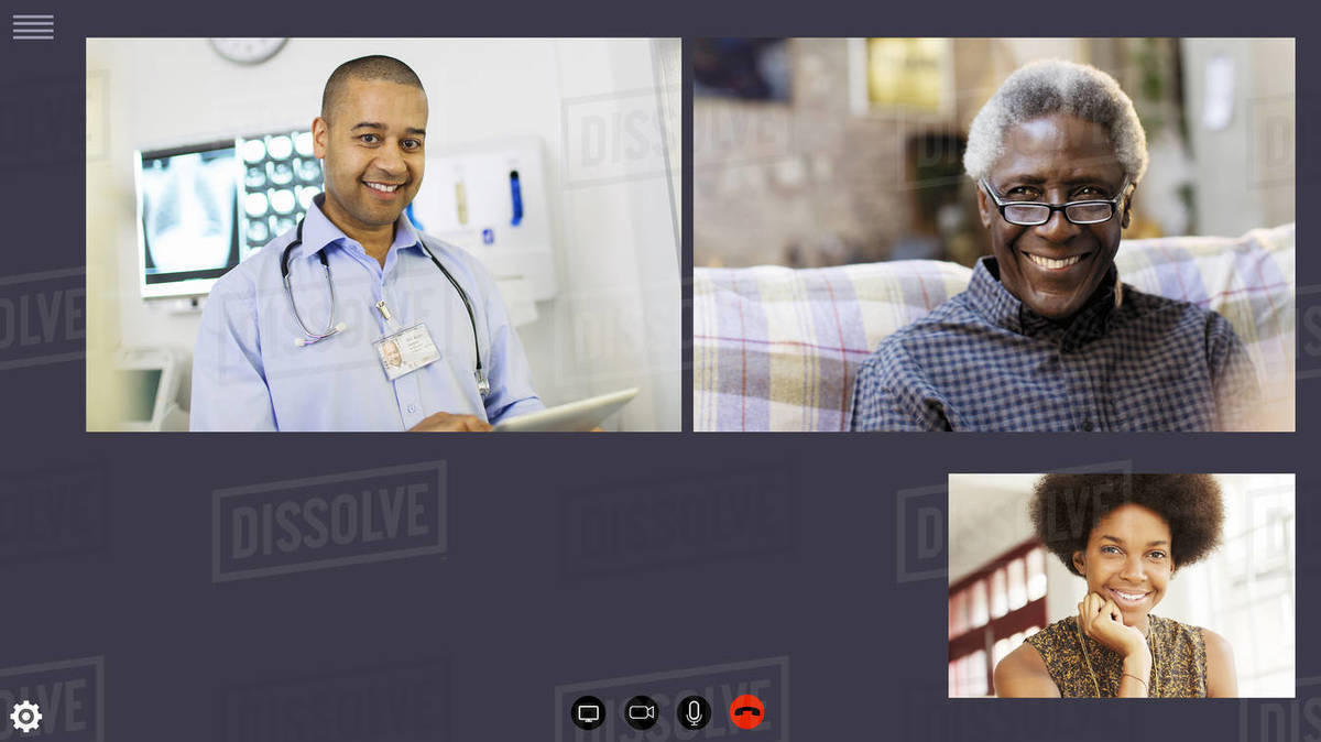 Doctor video conferencing with patients during COVID-19 quarantine Royalty-free stock photo