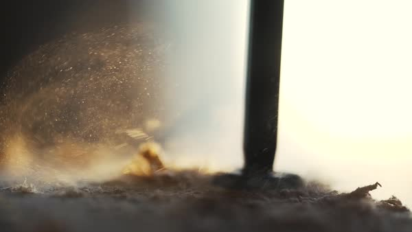 Slow motion of a hole being drilled into wood Royalty-free stock video