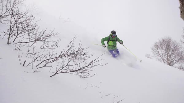 Panning shot of a skier sliding down a slope in a forest Royalty-free stock video