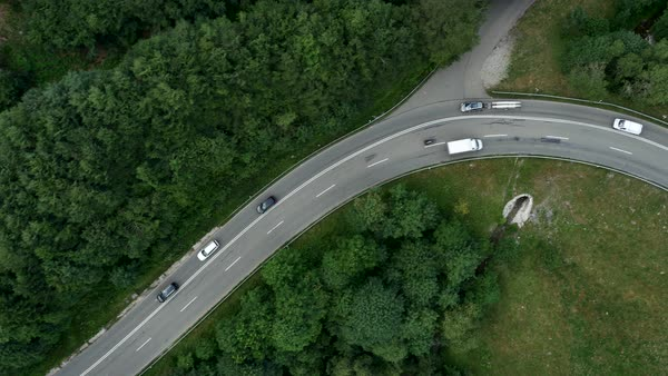 Aerial shot of cars driving on a rural road in Germany Royalty-free stock video