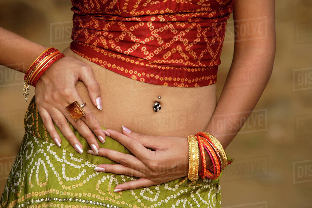Sexy Woman In Sari Belly Piercing Stock Photo