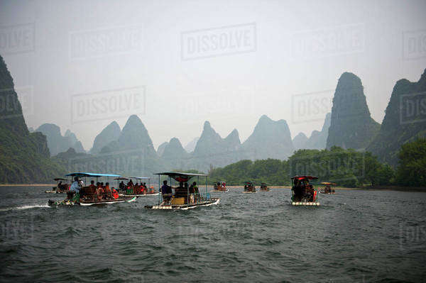 Tour boats sailing on the River Li in China Royalty-free stock photo