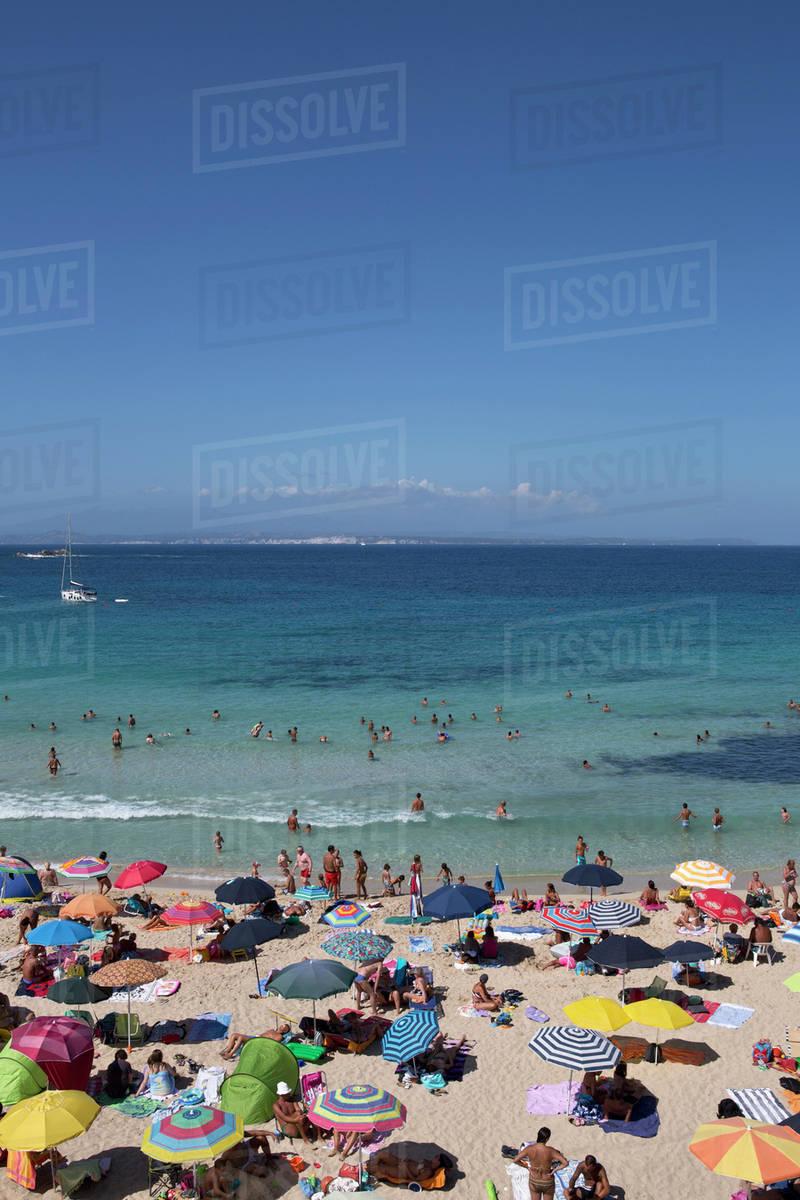Sunbathers On The Beach Palau Olbia Tempio Italy