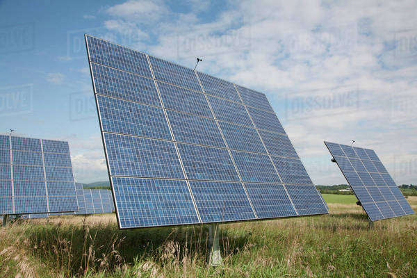 Solar panels in a field Royalty-free stock photo