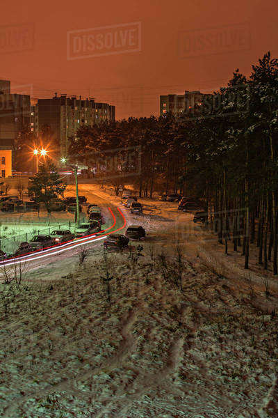 Long exposure shot of cars moving on a snowy street at night, Voronezh, Russia Royalty-free stock photo