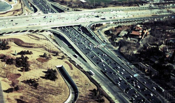 Aerial view of traffic on highways in city, Beijing, China Royalty-free stock photo
