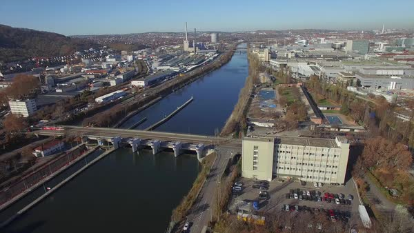 Drone shot of river in city, Stuttgart, Baden-Wuerttemberg, Germany Royalty-free stock video
