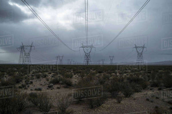 Electricity pylons and plants in field against cloudy sky Royalty-free stock photo