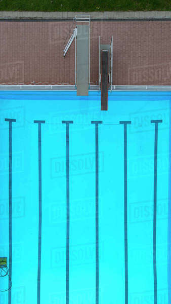 Directly above view of diving boards by swimming pool Royalty-free stock photo