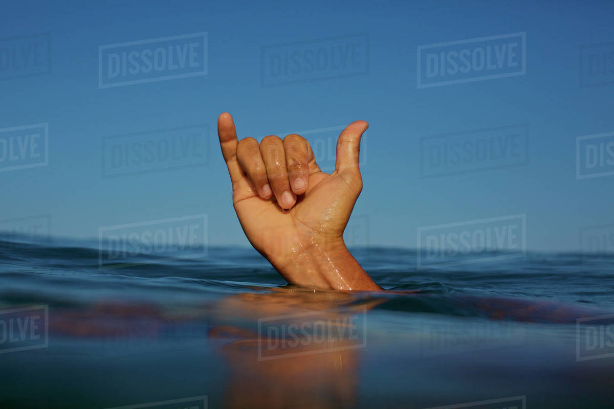 Close up male surfer gesturing shaka sign in ocean Royalty-free stock photo