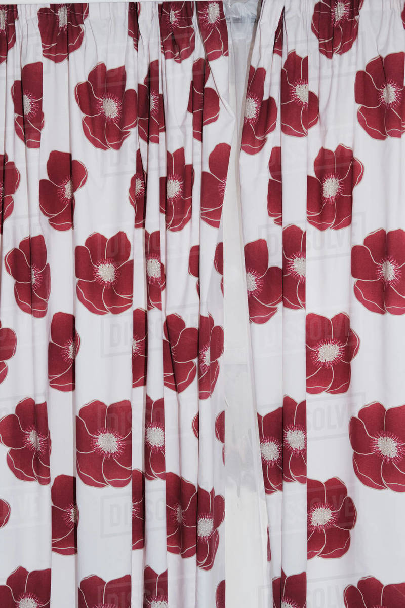 Red flowers on white curtains Royalty-free stock photo