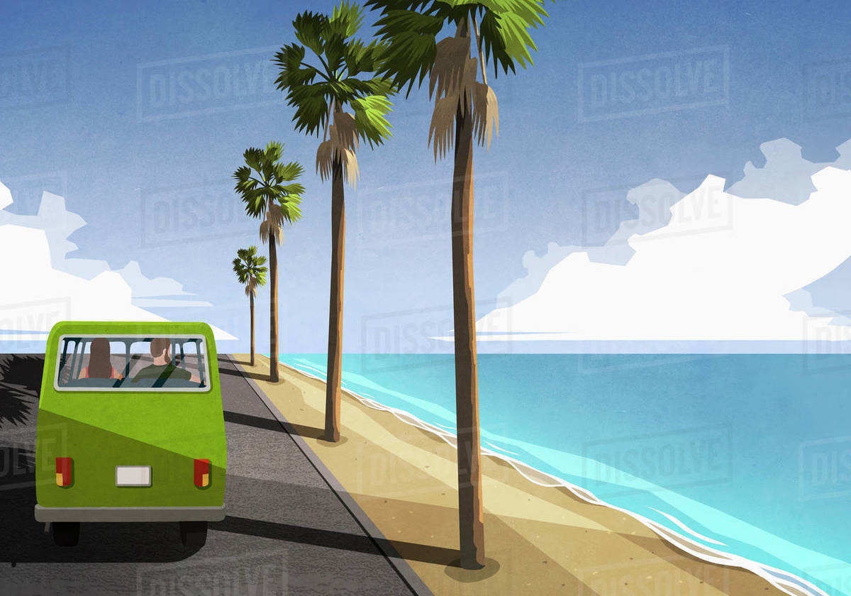 Couple driving along idyllic tropical beach in retro van Royalty-free stock photo
