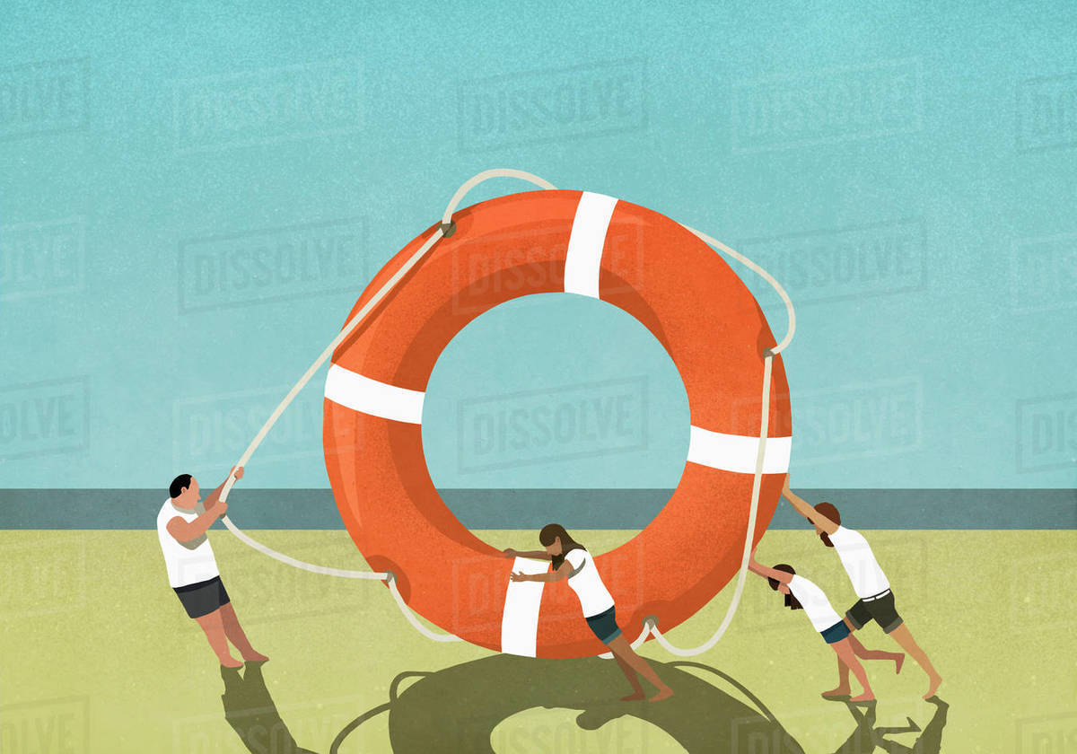 Family pulling and pushing large life ring on beach Royalty-free stock photo