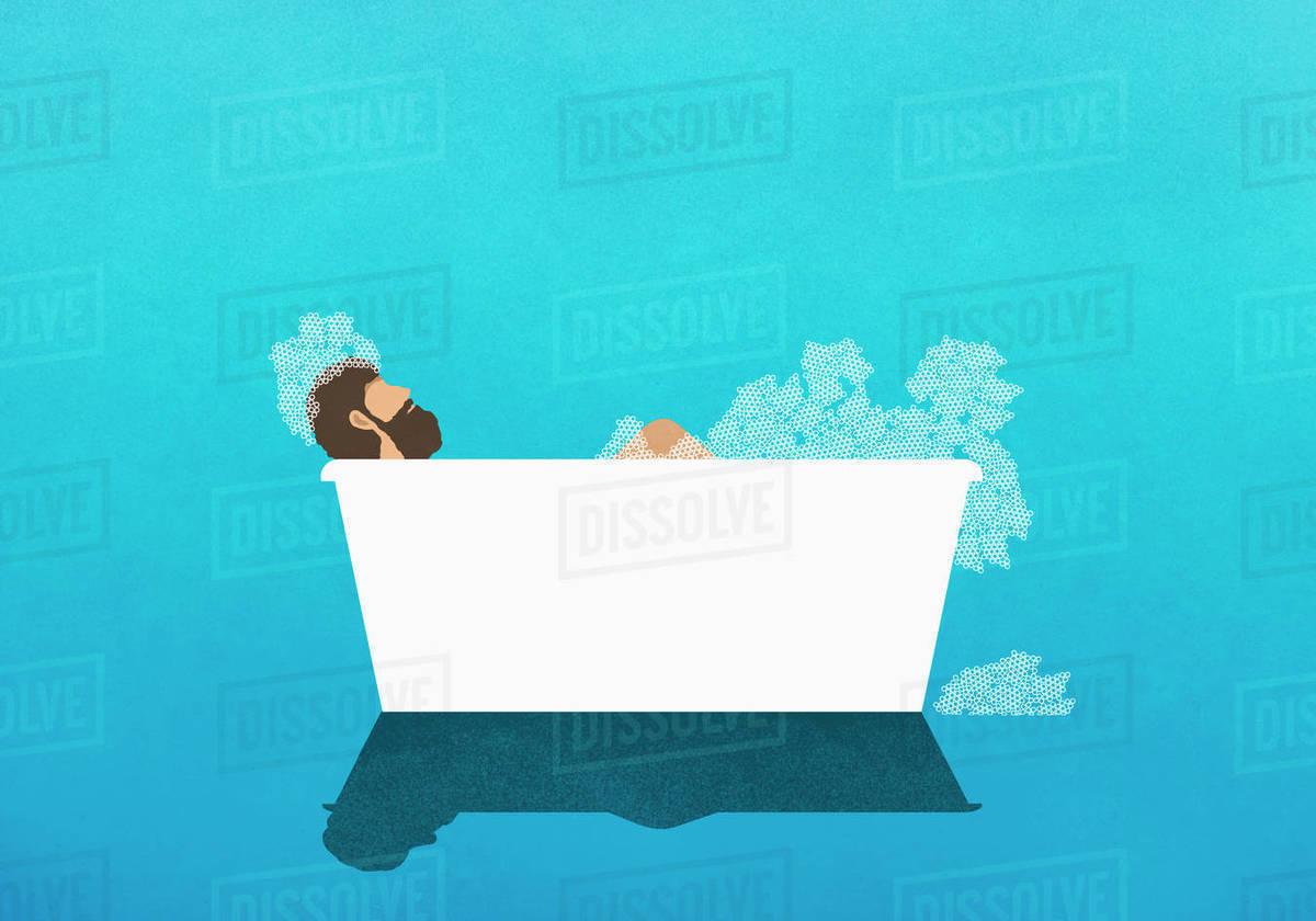 Man enjoying bubble bath Royalty-free stock photo