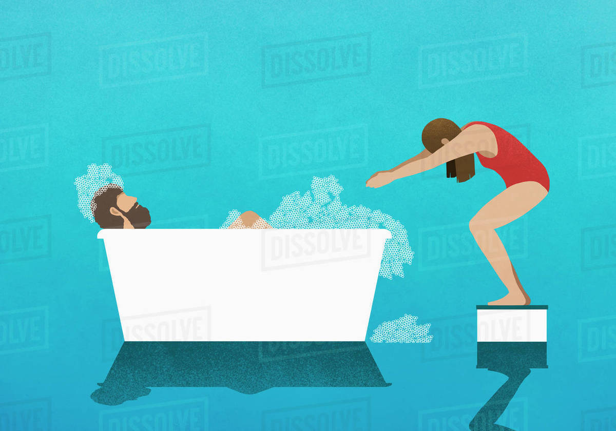 Wife on diving block preparing to dive into bubble bath with husband Royalty-free stock photo
