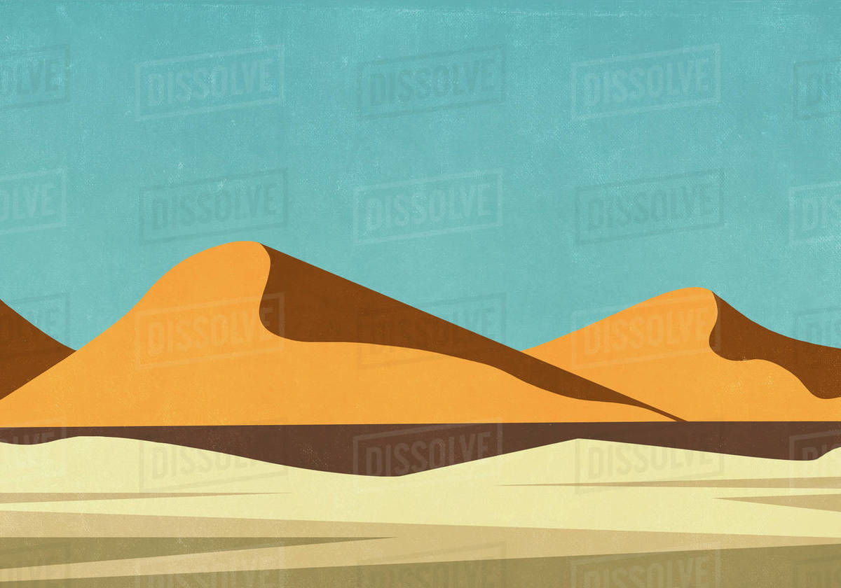 Sunny landscape view remote desert Royalty-free stock photo
