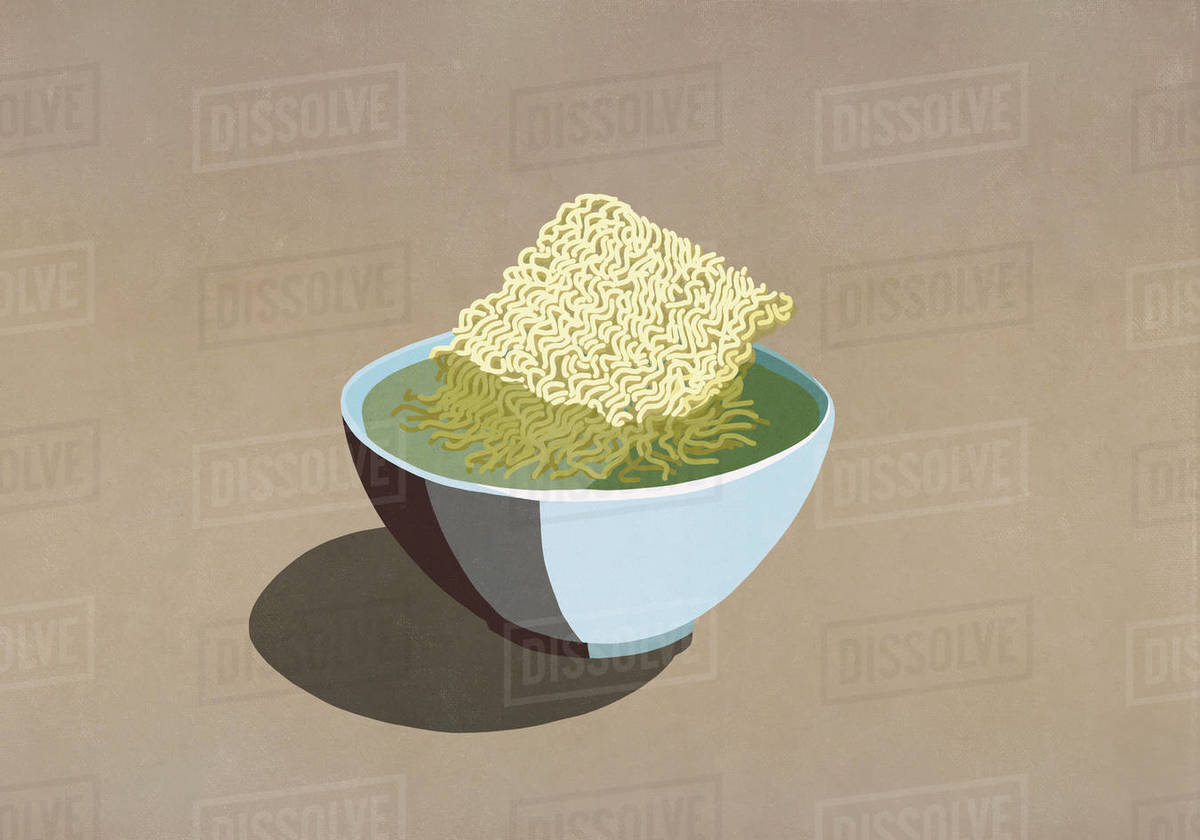 Processed ramen noodles in bowl of water Royalty-free stock photo