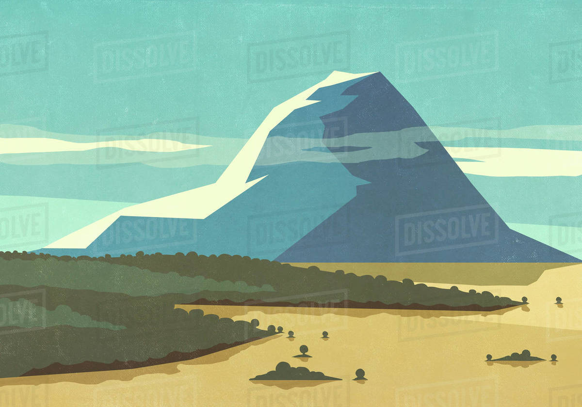 Sunny, scenic view mountain landscape Royalty-free stock photo