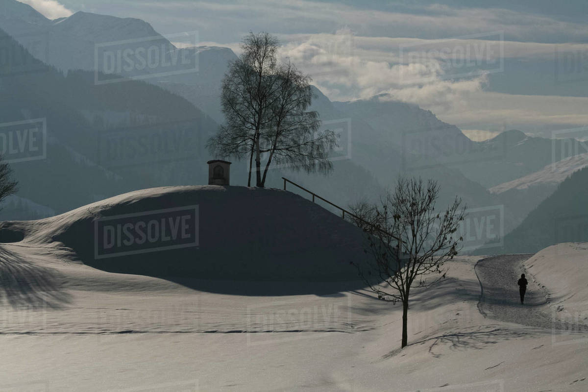 Sunny snowy scenic mountain view, Vella, Canton of Grisons, Switzerland Royalty-free stock photo