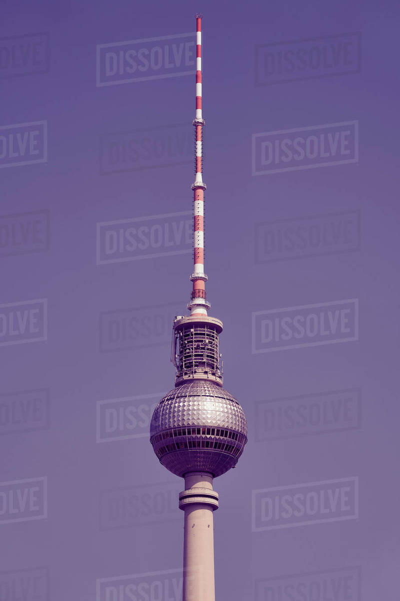 Television tower against sunny, blue sky, Berlin, Germany Royalty-free stock photo