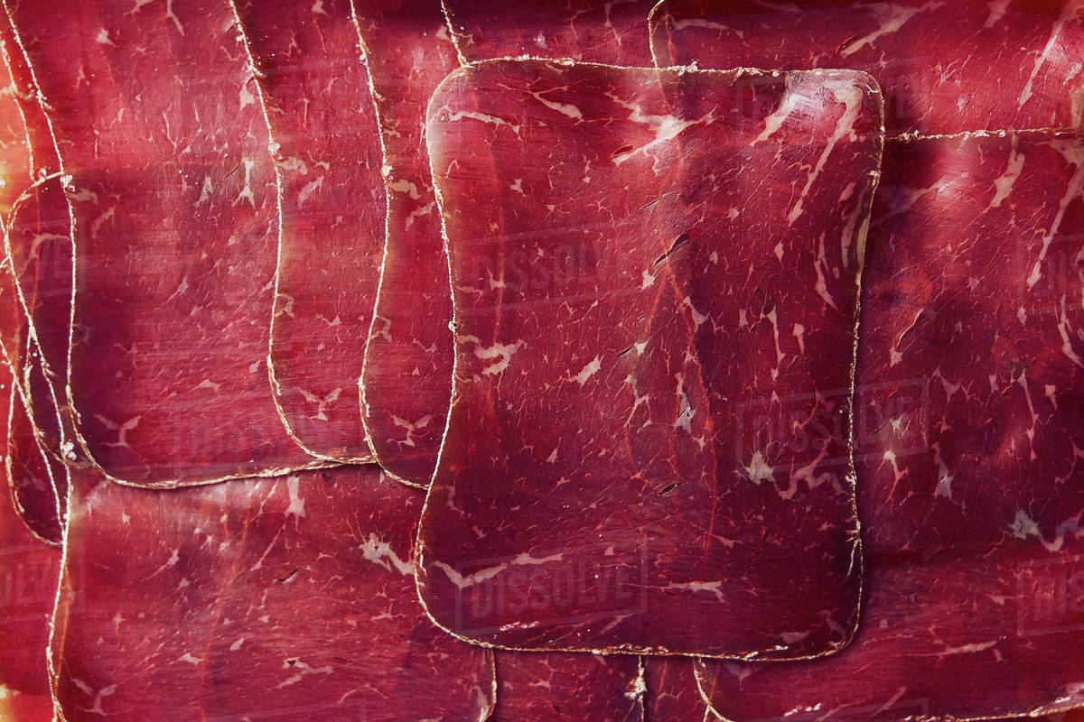 View from above sliced, air-dried Buendnerfleisch meat Royalty-free stock photo