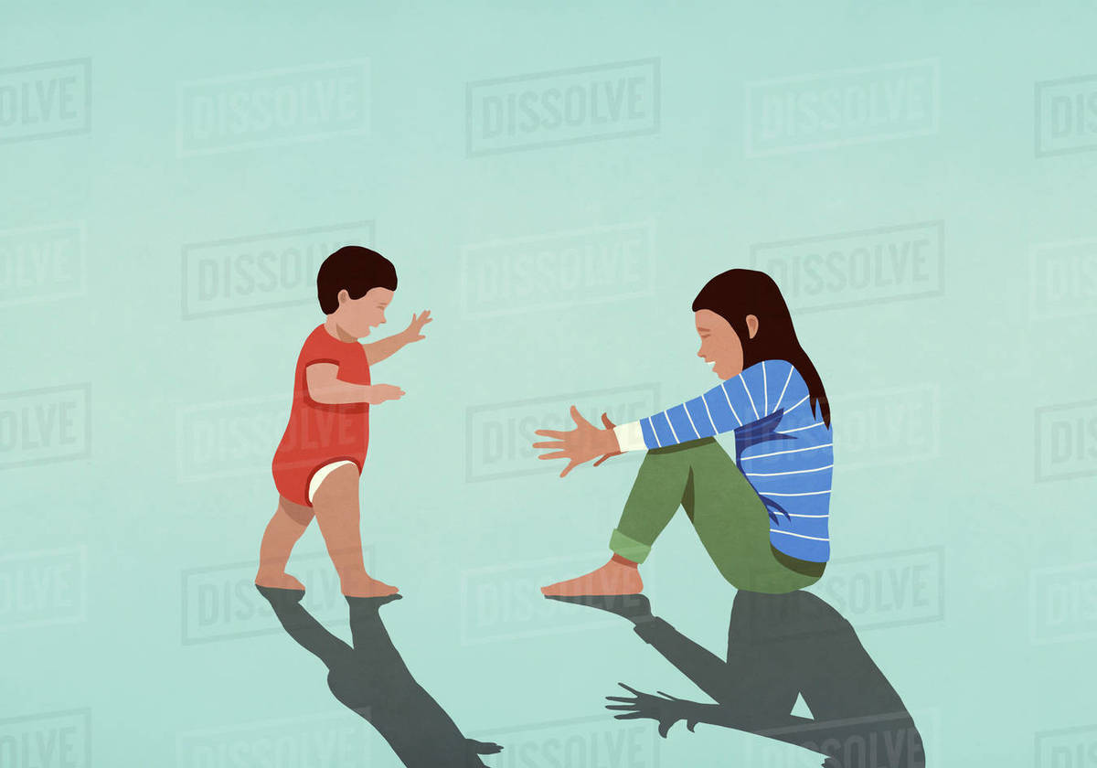 Baby taking first steps toward mother with arms outstretched Royalty-free stock photo