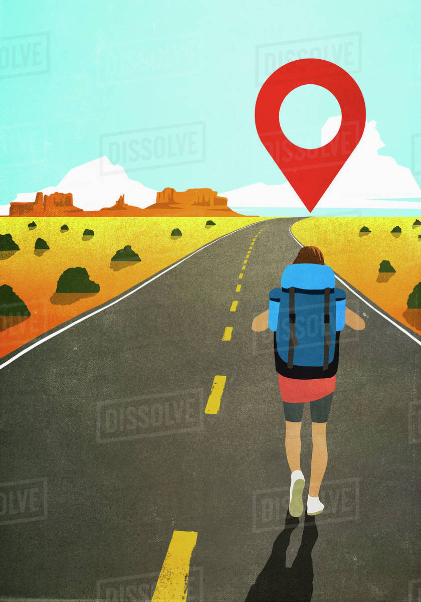 Map pin icon above woman backpacking on remote desert road Royalty-free stock photo