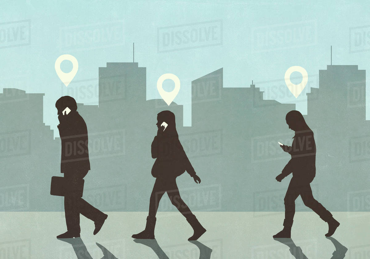 Map pin icons above business people walking and talking on smart phones in city Royalty-free stock photo
