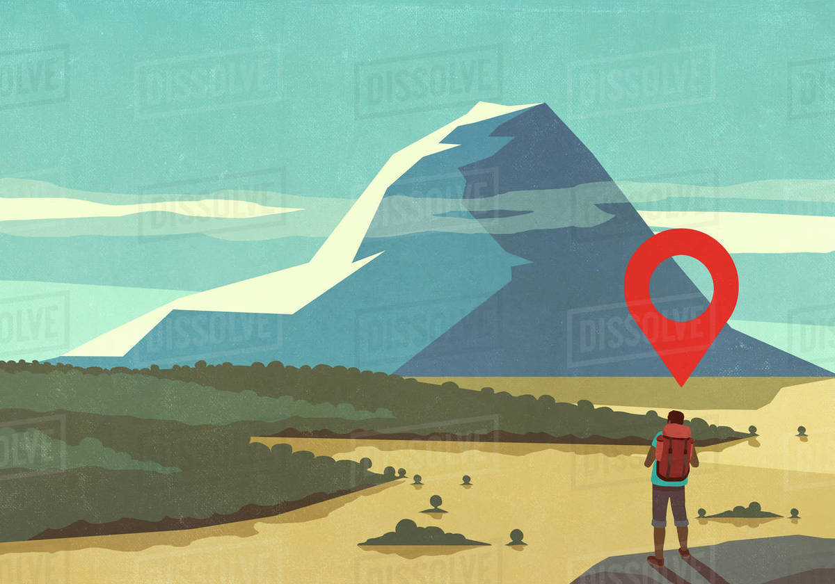 Map pin icon above man hiking, looking at majestic mountain landscape view Royalty-free stock photo