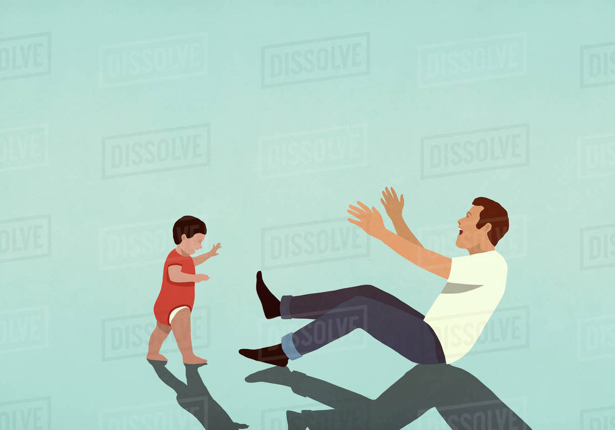 Happy father cheering for baby son taking first steps Royalty-free stock photo
