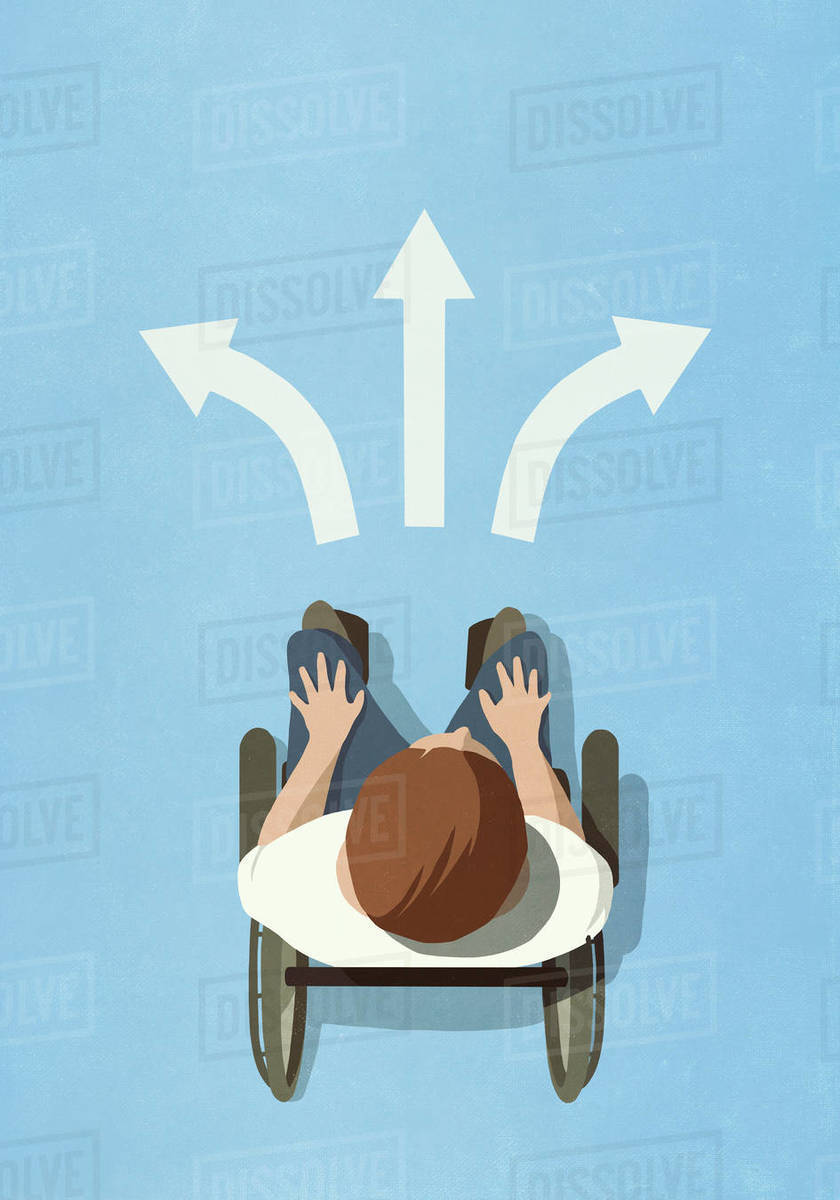 View from above man in wheelchair stopped at alternating arrows Royalty-free stock photo